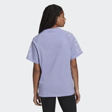 Women Originals Purple Loose adidas Letter Tee