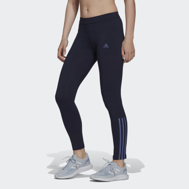 Women Sport Inspired Blue Essentials Fitted 3-Stripes 7/8 Tights