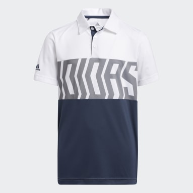 Youth Golf White Print Colorblock Polo Shirt