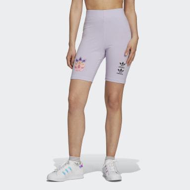 Dames Originals Paars Logo Play Korte Legging
