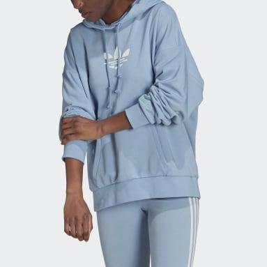 Women Originals Blue Adicolor Shattered Trefoil Oversize Hoodie