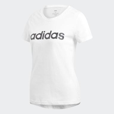 Camiseta Essentials Linear Branco Mulher Estilo Esportivo