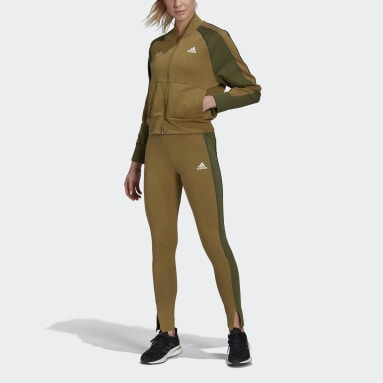 Women Sportswear Brown Bomber Jacket and Tights Track Suit