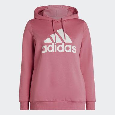Women's Essentials Pink Essentials Logo Fleece Hoodie (Plus Size)