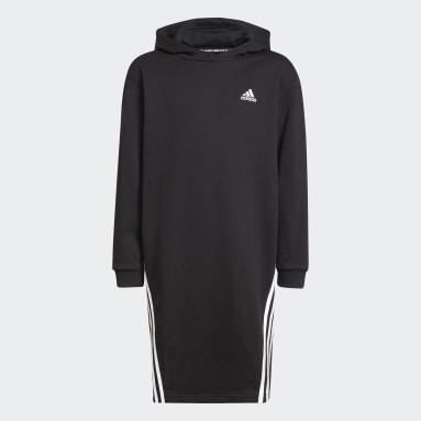 Kinder Sportswear Primegreen Future Icons 3-Streifen Kapuzenkleid Schwarz