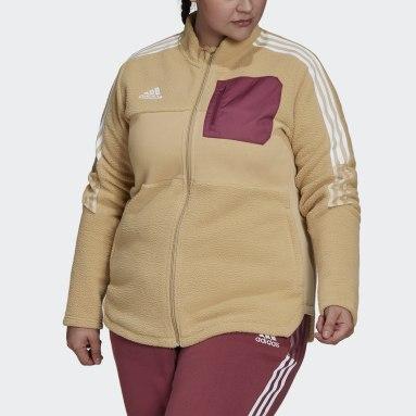 Kvinder Fodbold Beige Tiro Winterized Plus Size Sherpa jakke