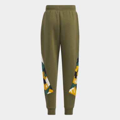 Pantaloni Fleece Verde Ragazzo Fitness & Training