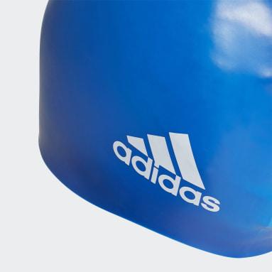 Swim Blue Silicone Logo Cap