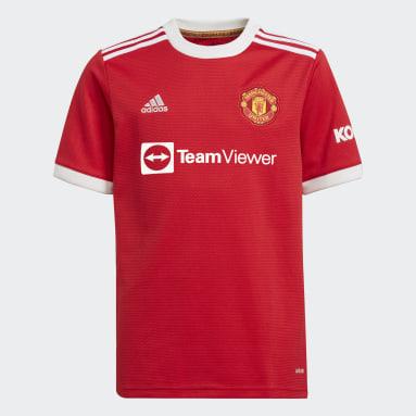 เด็กผู้ชาย ฟุตบอล สีแดง เสื้อฟุตบอลชุดเหย้า Manchester United 21/22