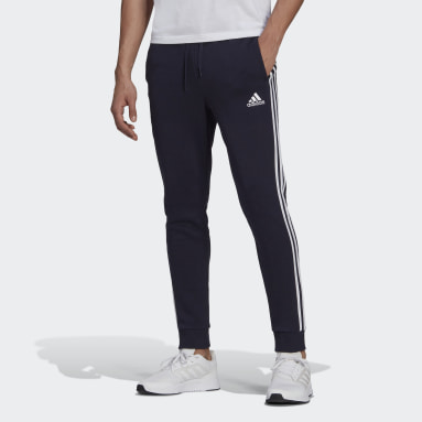 Men's Essentials Blue Essentials French Terry Tapered-Cuff 3-Stripes Pants