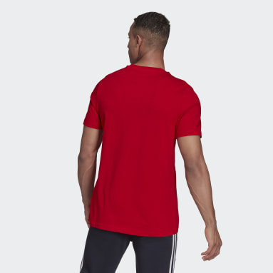 Men Sport Inspired Red The Brand With the Three Stripes Doodle Graphic Tee