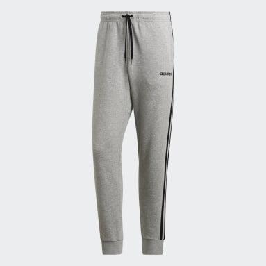 Mænd Fitness Og Træning Grå Essentials 3-Stripes Tapered Cuffed bukser
