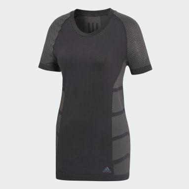 Camiseta Primeknit Cru Negro Mujer Running