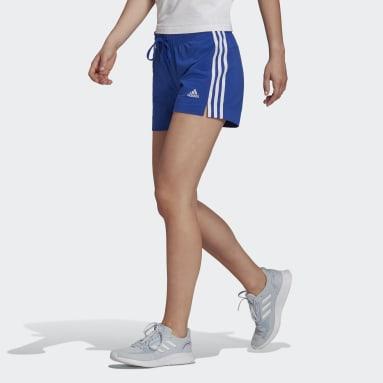 Women's Essentials Blue Essentials Slim 3-Stripes Shorts
