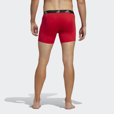 Men's Training Red Stretch Cotton Boxer Briefs 3 Pairs