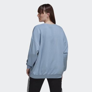 Women's Originals Blue Adicolor Shattered Trefoil Wheel Sweatshirt