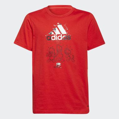 T-shirt Huguinho, Zezinho e Luisinho adidas x Disney Vermelho Rapazes Sportswear
