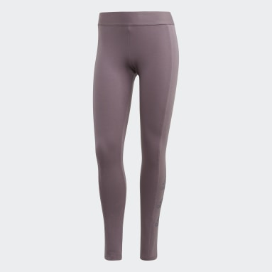 Women Sport Inspired Purple Must Haves Stacked Logo Tights