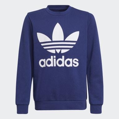 Sweat-shirt Trefoil Crew Bleu Enfants Originals
