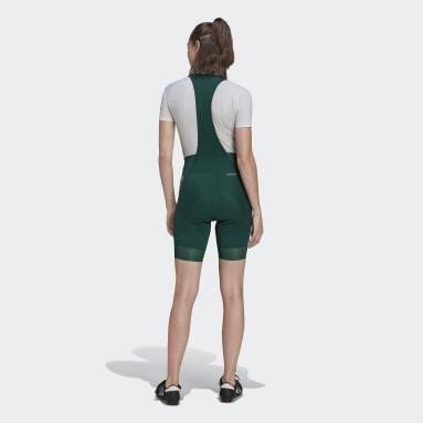 Women Cycling Green The Padded Cycling Bib Shorts