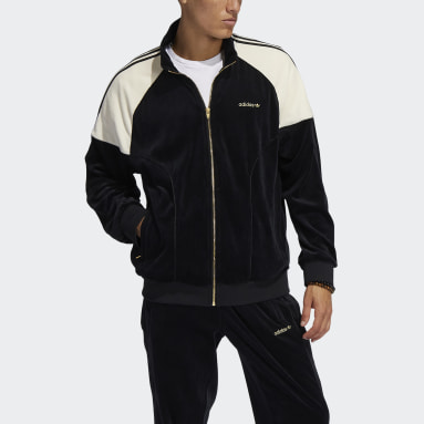 Men Originals Black adidas SPRT Firebird Velour Track Top