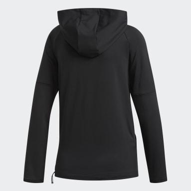 Frauen Running 3-Streifen Kapuzenjacke Schwarz