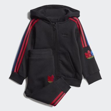 Infants Originals Black Adicolor 3D Trefoil Full-Zip Hoodie Set