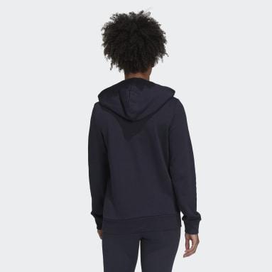 Women Sportswear Blue Essentials Logo Full-Zip Hoodie