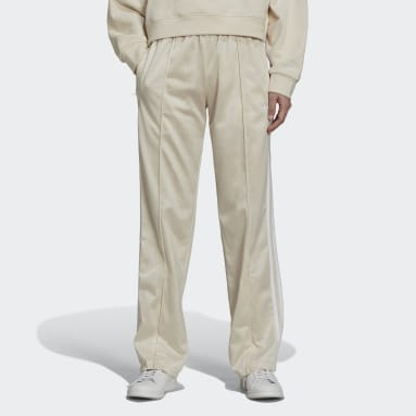 Women Originals White Flared Firebird Track Pants with Front-Zip Flared Effect