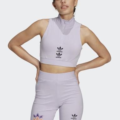 Women Originals Purple Logo Play Cropped Tank Top