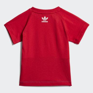 Děti Originals červená Tričko Large Trefoil