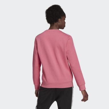 Felpa Essentials 3-Stripes Fleece Rosa Donna Sportswear