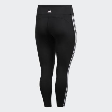 Women HIIT Black Believe This 3-Stripes 7/8 Leggings (Plus Size)