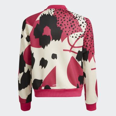 Girls Gym & Training Red AEROREADY Animal Print Warm-Up Zip-Pocket Regular Track Top