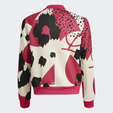 Chaqueta AEROREADY Animal Print Warm-Up Zip-Pocket Regular Rojo Niña Gimnasio Y Entrenamiento