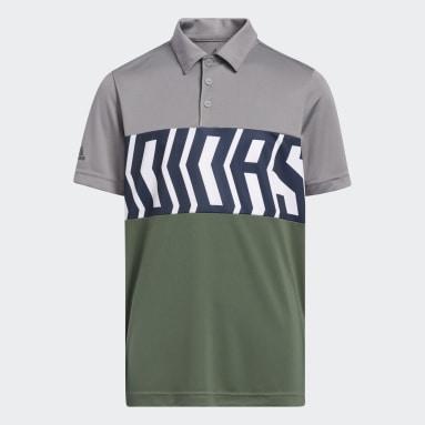 Polo Printed Colorblock Gris Niño Golf