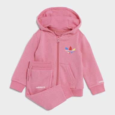 Conjunto com Casaco de Capuz Adicolor Rosa Criança Originals