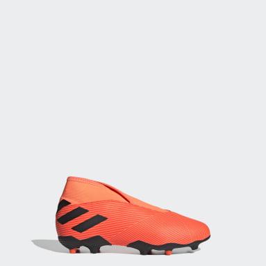 Kids Football Orange Nemeziz 19.3 Laceless Firm Ground Boots