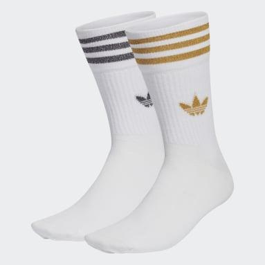 Women Originals White Mid-Cut Glitter Crew Socks 2 Pairs