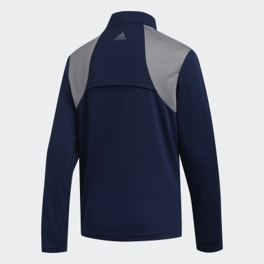 Youth Golf Blue 3-Stripes Half-Zip Pullover