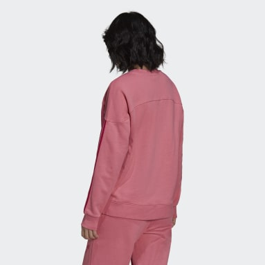 Sweatshirt with a Sporty Cut Line and Colored Stripes Rosa
