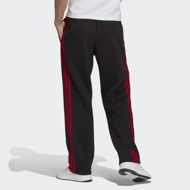 Men's Essentials Black Essentials Fleece Open Hem 3-Stripes Pants