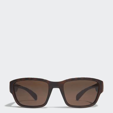 SP0007 Shiny Black Injected Sport Sunglasses Brązowy