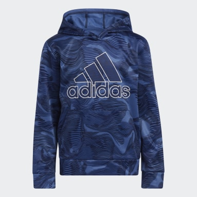 Youth Training Blue Camo Allover Print Hoodie