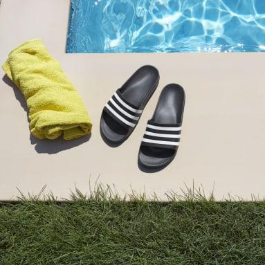 Men Swimming Black Adilette Aqua Slides