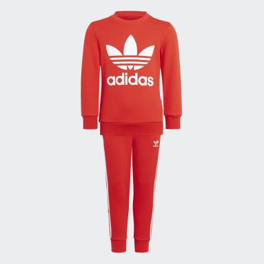 Conjunto sudadera cuello redondo y pantalón Adicolor Rojo Niño Originals