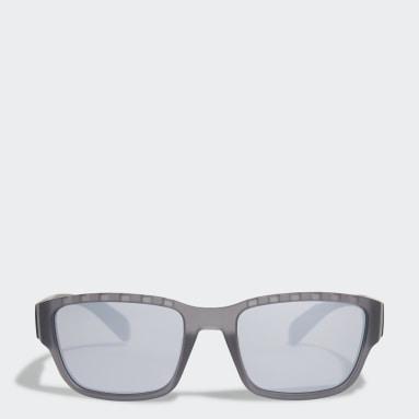 SP0007 Shiny Black Injected Sport Solbriller Grå