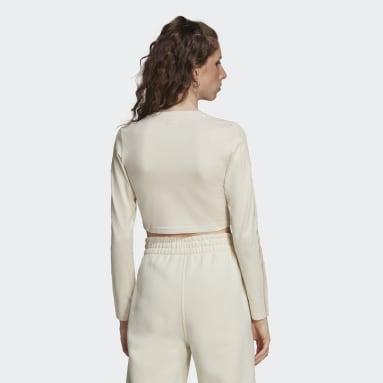 Ženy Originals bílá Tričko LOUNGEWEAR Cropped Long Sleeve