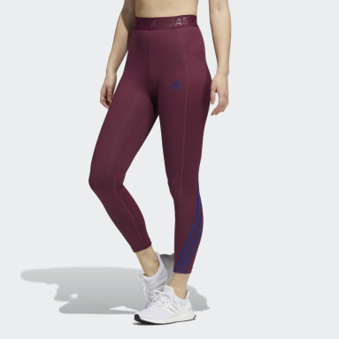 Tight lunghi Techfit 3-Stripes Gym Rosso Donna Fitness & Training