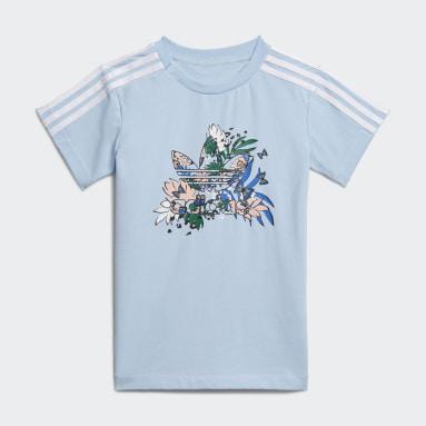 HER Studio London Animal Flower Print Tee Dress and Tights Sett Blå